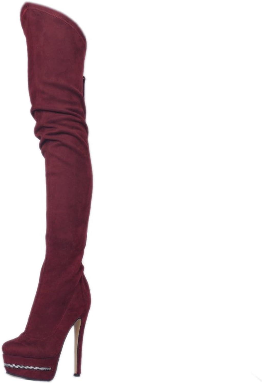 Original Intention Women Over-The-Knee Tassel Zipper Platform Round Toe Thin Heels shoes
