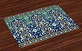 UPNOW Tovagliette marocchine Set di 4 Petali orientali Hippie Design a Mosaico Vintage Tovagliette in Tessuto Lavabile per Sala da Pranzo Decorazioni per la tavola da Cucina Blu Senape