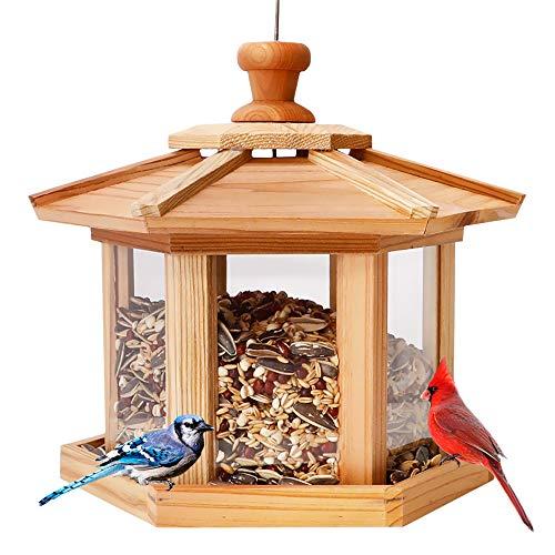 Solution4Patio Hexagon Shaped Gazebo Bird Feeder, USA Cedar,...