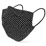 tanzmuster ® Behelfsmaske waschbar für Kinder - 100% Baumwolle OEKO-TEX 100 mit Nasenbügel und Filterfach - Community Maske handmade und wiederverwendbar 2-lagig Polka-Dots schwarz S-Kinder