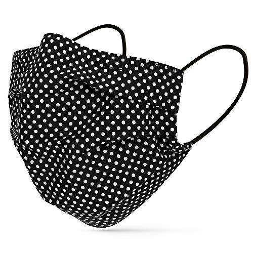 tanzmuster ® Gesichtsmaske für Erwachsene - Stoffmaske mit Nasenbügel und Filtertasche - Alltagsmaske waschbar - 100% Baumwolle OEKO-TEX Standard 100. Hauchdünn - Schwarz-Weiß-gepunktet M/L