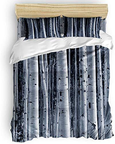 Juego de Funda nórdica, Juego de Ropa de Cama con Ramas de árboles Desnudos de Bosque Vintage de 3 Piezas - 1 Funda de edredón 2 Fundas de Almohada para niños / niños /Adolescentes / Adultos
