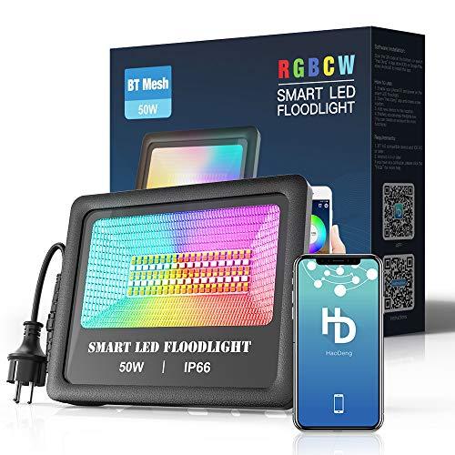 50W Bluetooth Smart LED Strahler RGBW+CCT 5 in 1, Gartenstrahler Kompatibel mit Smart Phone Gesteuert, LED Fluter Mit EU-Stecker Farbewechsel 16 Mio. Farben, 230V,4200LM,Außenstrahler IP66 Wasserdicht