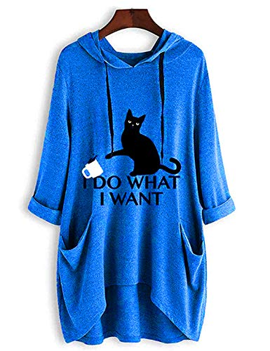 Women's Long Sleeve Hoodies I Do What I Want Letter Print Sweatshirt Pullover for Teens Girls with Cat Ear and Pocket (Blue, 3XL)