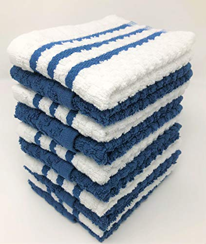 tea cloths AMA's Kitchen Towels 10 Pack Dobby Weave Dish Towels Tea Towels Terry Cotton Dish Cloths Towels (12 x 12 Inch) Machine Washable 100% Ring Spun Cotton Super Soft and Absorbent
