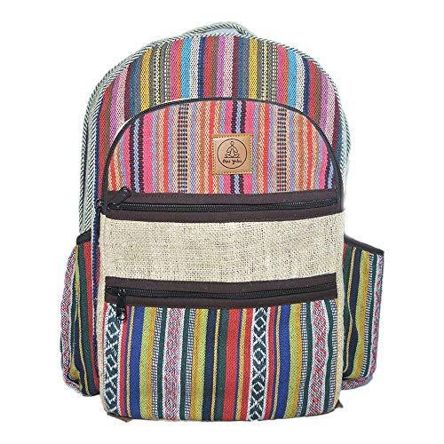 Multicolor Hemp Backpack Large - Eco Friendly Hemp Boho Backpacks for Men & Women - Himalayan Multi Pocket Student Bags for Laptop, Books, Travel & Hiking - Bohemian/Hippie/Tribal Aztec Backpack