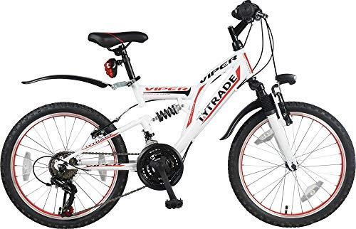 """20\"""" 20 Zoll Kinderfahrrad MTB Mountainbike Vollgefedert Kinder Fahrrad Rad Bike Jugendfahrrad Viper ROT Weiss TYT19-011"""