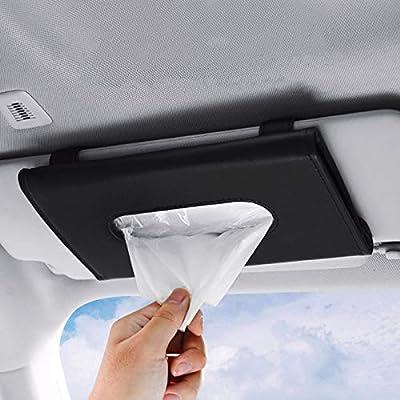 nyatek Car Tissue Mask Holder, Hanging Car Visor Tissue Holder, Sun Visor Tissue Holder PU Leather Tissue Paper Box, Tissue Case Holder for Car,Vehicle Auto SUV