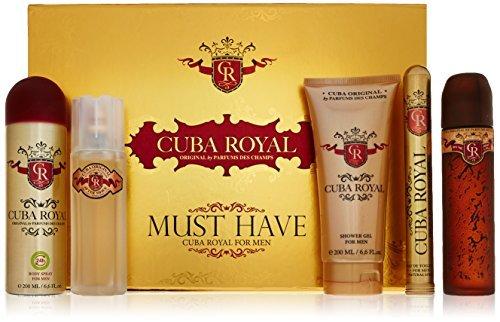 Cuba Royal for Men Gift Set (Eau de Toilette Spray 3.4 Ounce, Eau de Toilette Spray 1.17 Ounce, Shower Gel, After Shave, Body Spray) by Cuba