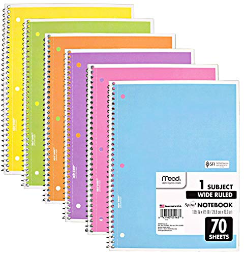 Mead Spiral Notebook, 6 Pack of 1-Subject Wide Ruled Spiral Bound Notebooks, Pastel Color Cute school Notebooks, 70 Pages