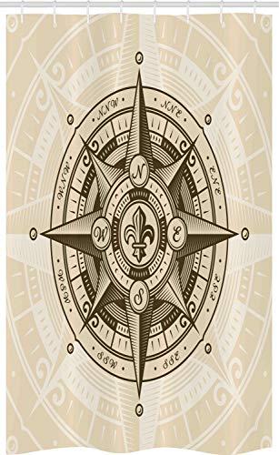 ABAKUHAUS Kompass Schmaler Duschvorhang, Vintage Nautical Windrose, Badezimmer Deko Set aus Stoff mit Haken, 120 x 180 cm, Eischale Dunkler Kakao & Elfenbein