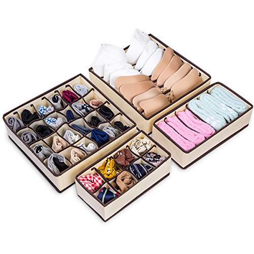 Schubladen Organizer, 4 Stück Unterwäsche Aufbewahrungsboxen Faltbare Kleiderschrank Organizer für BH, Unterwäsche, Büstenhalter, Socken, Schals