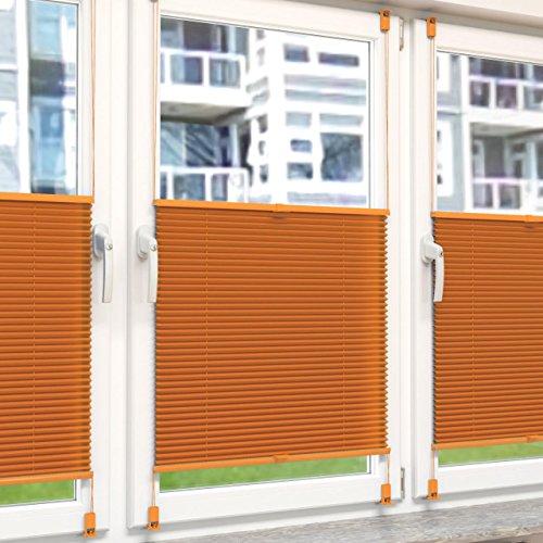 Plissee Rollo Sonnen- und Sichtschutz Klemmfix, ohne Bohren Breite 80 cm Höhe 130 cm in Orange