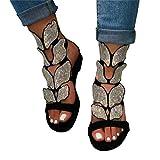 Padaleks Sandals for Women Flat Bohemia Rhinestone Ankle Strap Sandal Cutout Open Toe Low Heel Wedding Dress Shoes Black