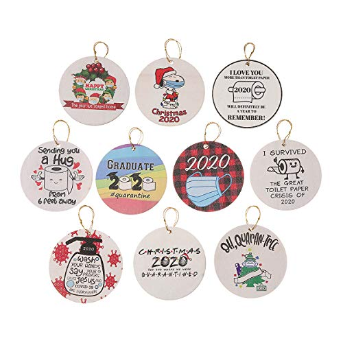 Glightor 2020 Christmas Ornament Quarantine, 10 Pcs Wooden Christmas Hanging Decorations Engraved Pandemic Quarantine 2020 Events, Remembering 2020 Year of Quarantine