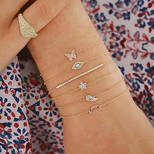 RXQCAOXIA 6 Stks Armband Set voor Vrouwen, Eenvoudige Armband Sieraden, Touw Ketting Polsband voor Meisjes Verjaardagscadeau
