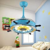 Southerns Lighting Pirate Ship Steering WheeI Invisible Ceiling Fans LED Light Decorative Retractable Blade Fan Chandelier Remote Hanging Lights 42' Indoor Ceiling Light Kits With Fans (Blue)