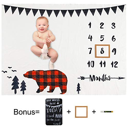 Play Tailor Baby Monthly Milestone Blanket Plaid Bear 40x50 in Ultra Soft Fleece Newborn Baby Shower Photography Background, Include Frame Blackboard Marker