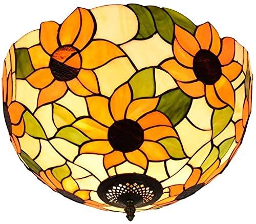 YWYU Lámpara de Accesorios de Techo 40 cm Tiffanystyle Lámpara de Techo Flor de Sol Vidrio Luz de Techo Lámparas de Techo Interior Lámparas y linternas para Balcón de Balcón de Aisle