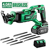 KIMO 20V 4.0Ah Li-ion Brushless Cordless Reciprocating Saw w/Battery & 1 Hour Fast Charger, Stepless Variable Speed, 1' Stroke Length, Tool-Free Blade Change, 8 Saw Blades for Wood & Metal Cutting