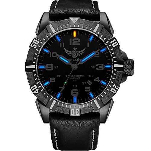 YELANG V1003 leather strap blue luminous