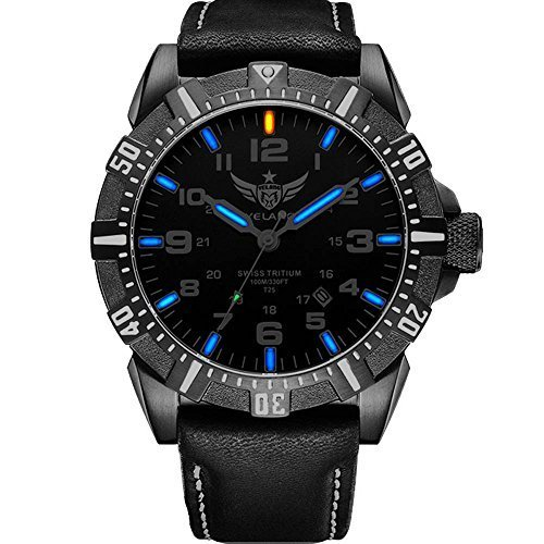 YELANG V1003 leather strap blue luminous