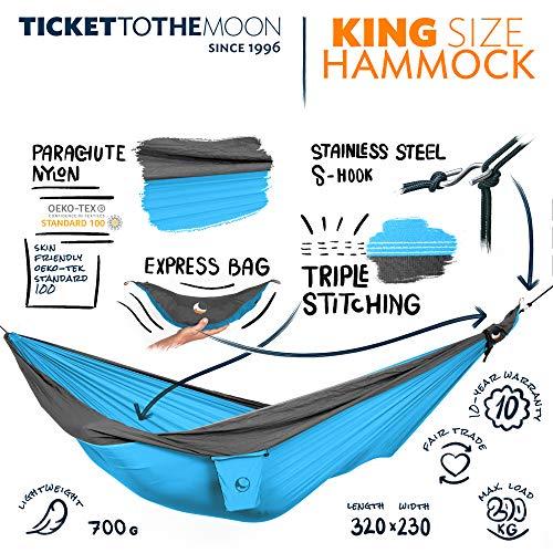 Ticket to the Moon Fair Trade & handgemachte King Size 1-2-Personen- Leicht-Hängematte Aqua- Dark Grey für Reisen, Camping und Alltag, 3,2 * 2,3m, 700g, Oeko-TEX, 10J. Garantie