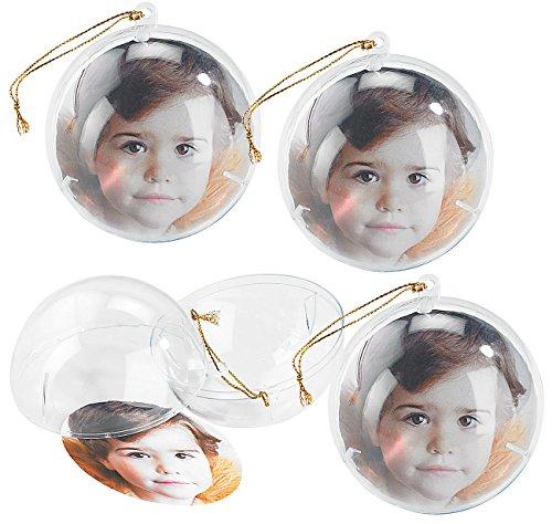 Your Design Fotokugeln Weihnachten: 4er-Set transparente Weihnachtsbaum-Kugel für Ihre Fotos (Fotokugel Weihnachten)
