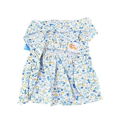 Fdit söt hund katt t-shirt husdjur valp hund kostym kläder sommar tutu klänning spets kjol hund blå klänning