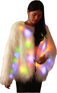 Ohlees Led Light Up Shining Christmas Party Women Winter Long Fur Vest Coat Decorative Perform Dance