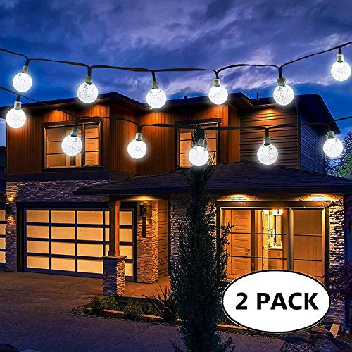 Solar Globe String Lights, 30 LED 20ft Crystal Ball Waterproof Outdoor Fairy String Lights Solar Powered Christmas Decoration Lights for Xmas Tree Garden Home Lawn Wedding Party, 2-Pack(White)