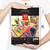 Bloc de papier pour aquarelle Arteza 22,9 x 30,5 cm, 32 feuilles, 300 g/m2, collé, pressé à froid, sans acide, pour médias humides, secs et mixtes