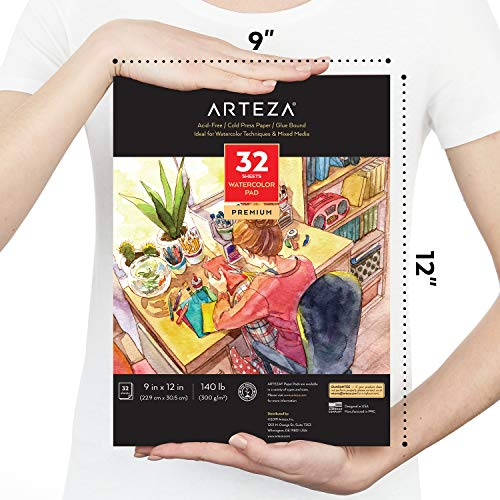 Arteza 9'x12' Watercolor Pad, 32 Sheets, 140lb/300gsm, Glue Bound, Cold Pressed, Acid Free Watercolor Paper Pad, for Wet, Dry & Mixed Media