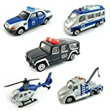 BOHS Pack of 5pcs- Police SWAT Vehicles- Mini-Diecast in Metallo miniaturizzato -Car, Tow Truck, Veicolo blindato, Prison Van, Command Center (con Elicottero) ...
