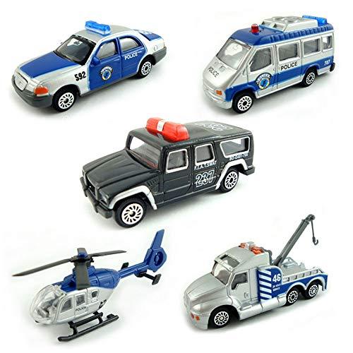 BOHS Packung mit 5 Stück - Polizei-SWAT-Fahrzeugen - Mini-Metall-Miniatur-Druckguss-Auto, Abschleppwagen, gepanzertes Fahrzeug, Gefängniswagen, Kommandozentrale (mit Hubschrauber)…