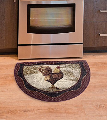 Crescent Shaped Tall Rooster Kitchen Rug, Red, Brown & Tan 19-Inch by 31-Inch, Brick