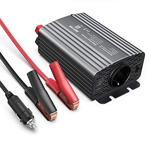Wechselrichter 500W/BESTEK Spannungswandler DC 12V auf AC 230V/KFZ Inverter mit 2 USB, inklusive Kfz Zigarettenanzünder Stecker Autobatterieclips Grau, 2 Austauschbare Sicherungen