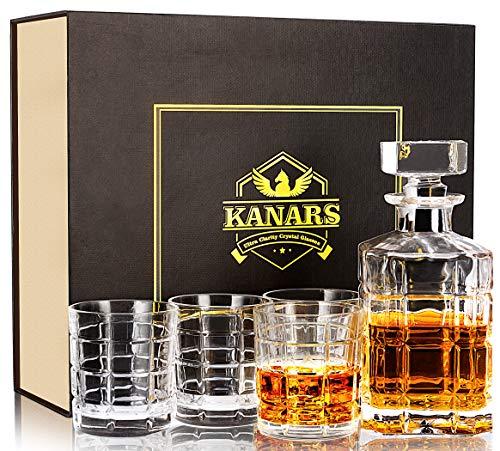 KANARS Jarra de Whisky, 5 Piezas, 100% Libre de Plomo Cristalino Resistente...