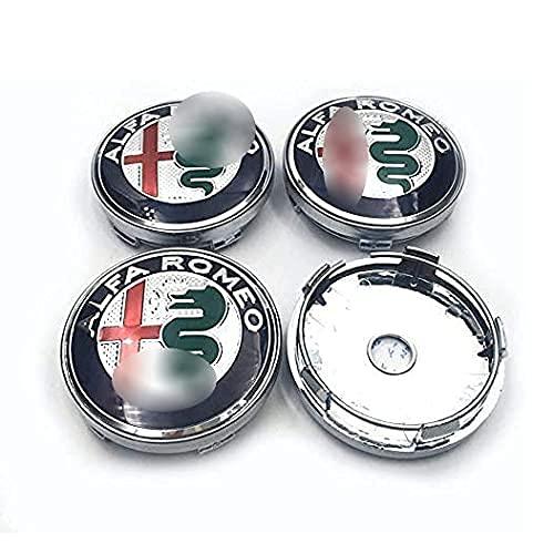 Liuyunding 4 Piezas Tapas Centrales para Llantas para Alfa Romeo, con Logo Rueda Centro Tapacubos Tapas Accesorios De DecoracióN De Coches, 60mm