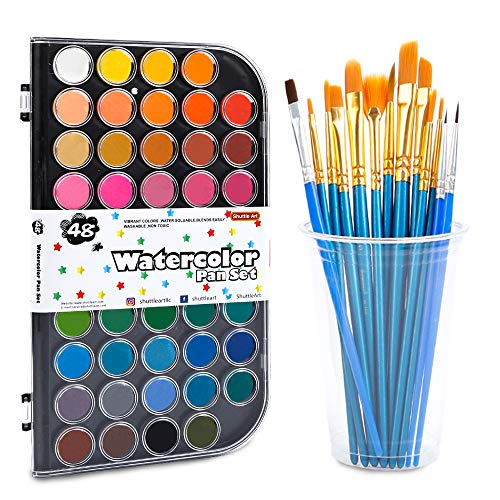 61 Pack Watercolor Paint Set, Shuttle Art 48 Colors Watercolor Pan with 13 Paint Brushes for Beginners, Artists, Kids & Adults to Watercolor Paint, Bullet Journal, Calligraphy Practice