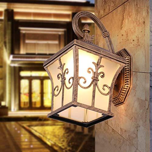 YZYZYZ Luz de exterior Retro Vintage Industrial Lámpara de pared al aire libre Lámpara de pared Lámpara de pared de cristal transparente de metal clásico Latón decorativo Luz de noche Villa Luz de jar