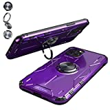 JCGOOD iPhone 11 pro max ケース アルミ+シリコン バンパー 強化保護 車載ホルダー対応 アイフォン 11 pro max アルミ カバー 耐衝撃 擦り傷防止 リング付き スタンド機能 360°回転 落下防止 軽量 薄型 (iphone11 Pro Max, パープル)