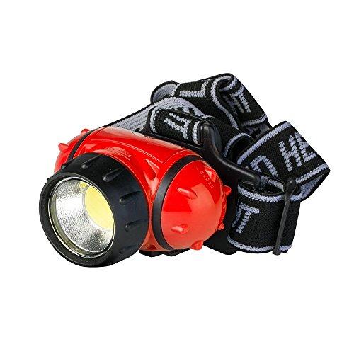 Poly Pool pp3156, Stirnlampe Multifunktional Ultra LED COB 3W-Kopf, 3Lichtfunktionen, Gummiband und Neigekopf Unisex–Erwachsene, Rot/Schwarz, M