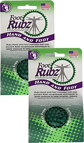 Due North Industrial Foot Rubz Foot Hand & Back Massage Ball, Relief from Plantar Fasciitis, Green (2 Pack)
