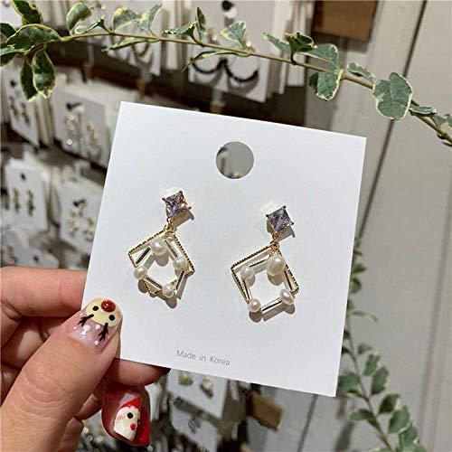 Pendiente de Simplicidad con Estilo Versión Japonesa Y Coreana de Los Pendientes de Gota Cuadrados Geométricos Mujer Elegante Simulación Joyas de Cristal de Perlas, ZJ