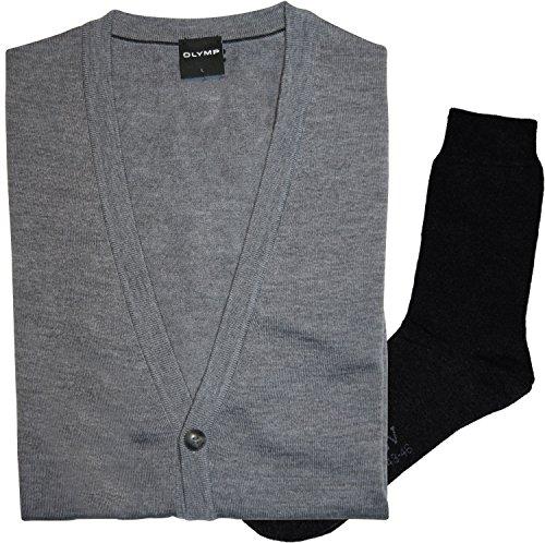 OLYMP Strick Cardigan Strickjacke - Merinowolle, V-Ausschnitt, grau + 1 Paar hochwertige Socken, B&le