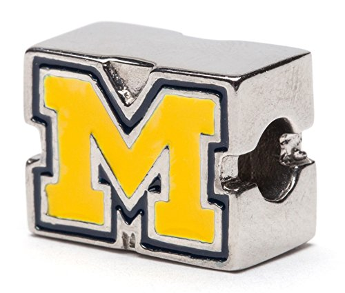 University of Michigan Charm | University of Michigan Maize and Blue Block M Logo Bead Charm | Officially Licensed University of Michigan Jewelry | UMich Jewelry | Michigan Gifts | Stainless Steel