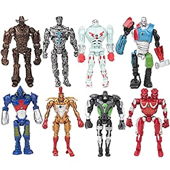 Super Hero Real Steel Movie Action Figure Toys Cool Real Steel Zeus Atom Midas Boys Gift Figures Toy Children Gift 13CM 8Pcs/Set
