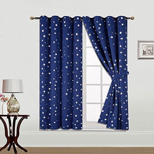 Gardinenbox Verdunkelung Vorhang Star Ösen Blickdicht Black-Out mit silbernen Sternen 2 Stück HxB 175x135 cm Dunkelblau Sterne, 20650