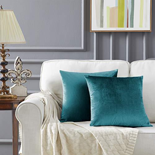 Gigizaza Azul Pavo Real Terciopelo Almohada Cubre Caso Suave decoración Fundas de de cojín para sofá Dormitorio Coche Cama Casa Decor 45x45cm ,Pack de 2